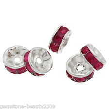 Wholesale HOT!Silver Plated Fuschia Rhinestone Rondelle Spacers Beads 8x4mm