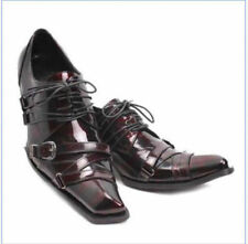 Mens Fashion Leather Square Toe Lace Up Buckles Dress Formal Wedding Boots Shoes