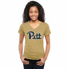 Pitt Panthers Women's Classic Wordmark Tri-Blend V-Neck T-Shirt - Khaki - NCAA
