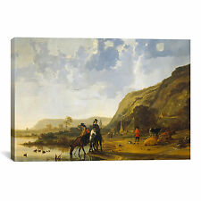 Fine River Landscape with Riders by Aelbert Cuyp Painting Print on Canvas