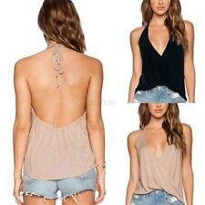 Sexy Halter Backless T-shirts Women Casual Cross V-neck Vest Tank Top Blouse SML
