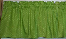 Small White Polka Dots on Lime Green Handcrafted Curtains Panels Drapes w/