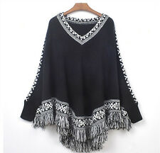 Hot Korean fringed shawl cloak loose V-neck sweater coat sweater women