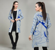 Hot Abstract simple bat sleeve in long sweater cardigan Coat Cape sweater