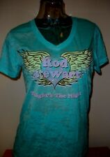 "New Rod Stewart Women's ""Tonight's the Night"" Tour Turquoise V-Neck T-Shirt"