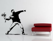 Banksy Love Is In The Air Large Removable Vinyl Wall Decal - Flower Thrower