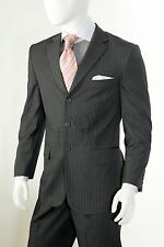 Vittorio St. Angelo 3 Button Notch Lapel Pin Stripe Regular Fit Suit A63TRS Grey