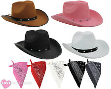COWBOY HAT AND PAISLEY BANDANA WILD WESTERN FANCY DRESS COSTUME ACCESSORY SET