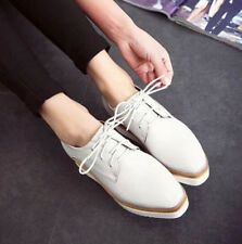 Lady Wedge Oxfords Womens Mid Heels Platform Lace up Brogue Causal Creeper Shoes