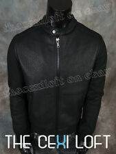 BRAND NEW Black P/U Leather Coat Riding Bomber Jacket Textured Front Wool Sleeve
