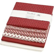 Bundle Of 6 Or Individual Fat Quarters 100% Cotton Red Burgundy Brown Cream Spot