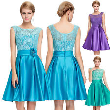 GK Satin&Lace Cocktail Mini Ball Gown Party Prom Evening Prom Swing Dress 6~20