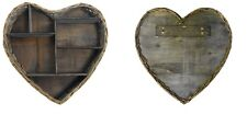 Wicker Heart Shape Rustic Wall Hanging Shelf Display Unit Storage Home Office
