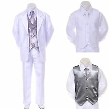 New Baby Boy Formal Wedding Party White Suit Tuxedo + Silver Vest Tie Set 2T-4T
