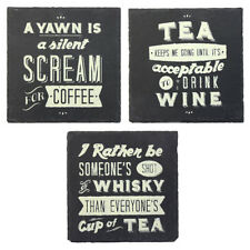 Slate Coasters Novelty Whisky Wine Beer Tea Coffee Drink Stone Table Placemats