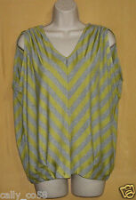 Fenn Wright Manson womens lime green gray striped keyhole ruched tunic top M $78