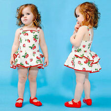 Summer Baby Rompers Strawberry Printed Girls Jumpsuit Toddler Clothing Kid Dress