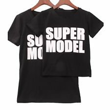 Women Kids Boy Girls Loose Cotton Casual Blouse Tees Tops Fashion Summer T-shirt