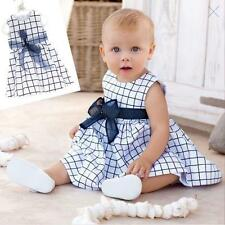 Toddler Girls Kids Baby Bow-knot Plaids Dress Party Pageant One Piece Dress 0-4Y