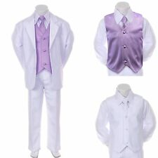 New Baby Boy Formal Wedding Party White Suit Tuxedo + Lilac Vest Tie Set 2T-4T