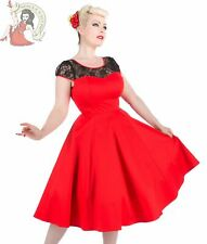 HEARTS & ROSES H&R 50's LACE rockabilly DRESS cocktail RED