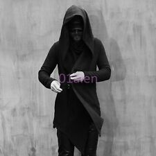 Mens Boys Coats Jacket Long Hooded Punk Goth Slim Cloak Cape Spring Chic Trench