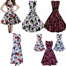 Hepburn Vintage Style Rockabilly Floral Pleated Sleeveless Party Swing Dresses