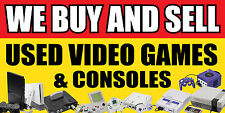 """WE BUY AND SELL USED VIDEO GAMES CONSOLES VINYL BANNER 12"""", 24"""", 36"""", 48"""", 60"""""""