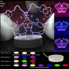 Room Decor 3D Illusion LED Night Light Table Desk Lamp Color Change Hello Kitty