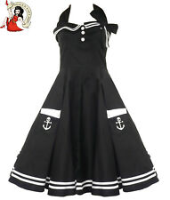 HELL BUNNY MOTLEY 50's rockabilly DRESS nautical sailor BLACK