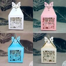 50pcs Butterfly Laser Cut Wedding Party Favor Ribbon Candy Boxes Gift Box