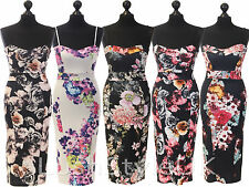 New Ladies Strappy Floral Midi Dress Women Cami Bodycon Dress UK 8-14