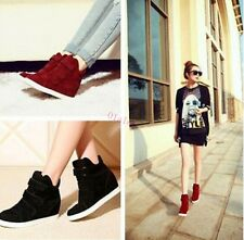 Free Womens Wedge Hidden Heel High Top Velcro Ankle Boots Leopard Sneakers Shoes