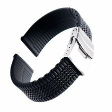 Mens Silicone Rubber Watch Strap Band Deployment Buckle Waterproof 18 20 22 24mm
