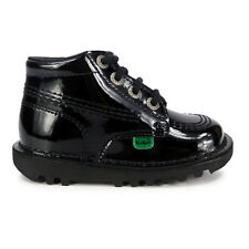 Infants Kickers Kick Hi Patent Black Leather Boots