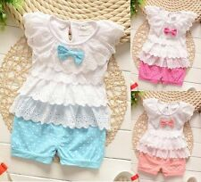 2016 new infant baby girls clothing 2-piece summer clothes layered top&pants