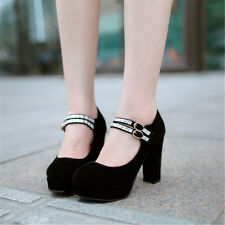 Womens Block High Heels Platform Party Faux Suede Shoes Ankle Strappy Bling New
