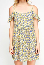 *NEW* EX NEW LOOK YELLOW BLUE FLORAL COLD SHOULDER SUMMER BOHO SUN DITSY DRESS