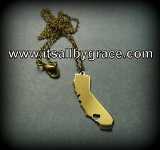 California State Necklace, Charm, Ca Heart Love Pendant Brass Handmade IN USA