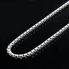 """ITALY .925 DESIGNER STYLE SQUARE BOX LINK CHAIN STERLING SILVER NECKLACE 16""""-24"""""""