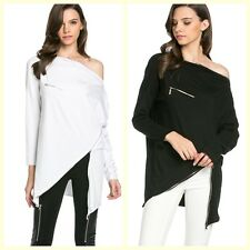 My Yuccie TOV Asymmetrical Off the Shoulder with Zipper Causal Long Sleeve Top