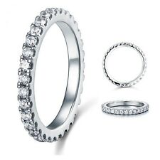 Eternity Solid 925 Sterling Silver Wedding Band Ring Jewelry