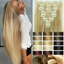 Thick Full Head Clip In Hair Extensions Brown Blonde Real Natural Long Curly f7
