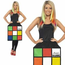 Rubiks Cube Costume Ladies 3D 80s Retro Fancy Dress Outfit
