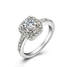 Crystal Square Wedding Engagement White Gold Plated Finger Ring Silver US-6/7/8