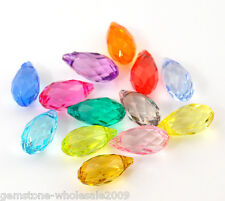 Wholesale Lots Mixed Faceted Teardrop Acrylic Crystal Pendants 13x6.3mm