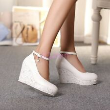 Womens Platform Wedges Casual Court WEdding Buckle Shoes Pumps Beads Fashion New