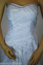 Lady Taffeta White Beaded Strapless Gown Wedding Formal Debut Evening Ball Party