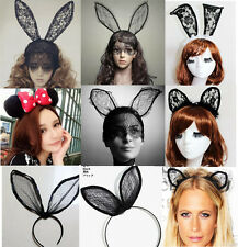 Fancy Dress Halloween Costume Party CAT Mouse Rabbit Bunny Ears LACE Headbands14