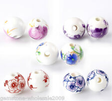 """Wholesale Lots Mixed Flower Pattern Round Ceramic Beads 12mm(4/8"""")Dia."""